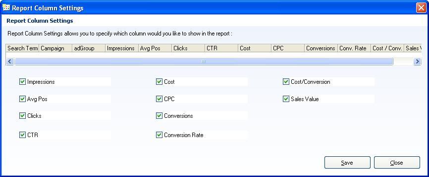 report column setting pic