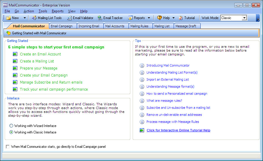 Mail Communicator is an automated bulk email and newsletter marketing software affordable Screen Shot